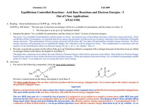 Equilibrium Controlled Reactions: Acid Base Reactions and Electron ...
