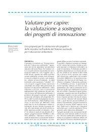 la valutazione a sostegno dei progetti di innovazione
