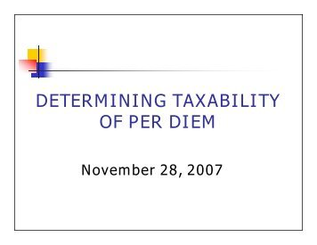 DETERMINING TAXABILITY OF PER DIEM