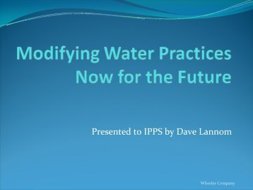 Modifying Water Practices Now for the Future