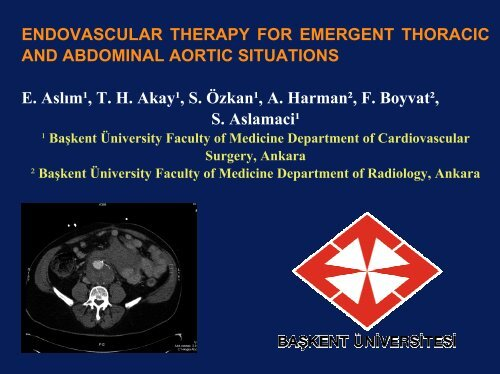 ENDOVASCULAR THERAPY FOR AORTIC EMERGENCIES ...
