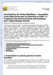 Contributions de l'Action Spécifique'Conception d'une Plateforme ...