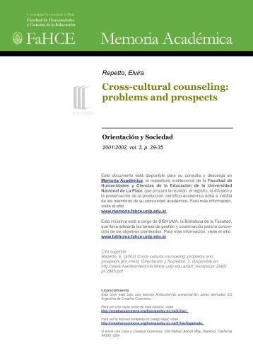 Cross-cultural counseling - Memoria Académica - Universidad ...