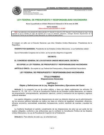 ley federal de presupuesto y responsabilidad hacendaria - Normateca