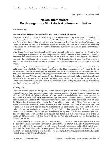 Neues Internetrecht - Forderungen aus Sicht der Nutzerinnen und ...