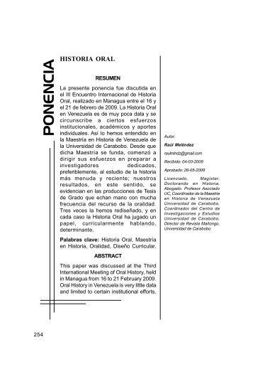 La historia oral - Portal de Revistas Electrónicas-Universidad de ...