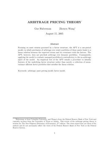 APT- Arbitrage Pricing Theory and CAPM-Capital Asset Pricing Model - Research Paper Example