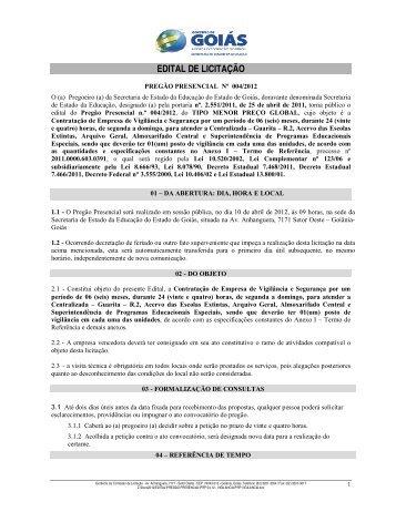 Pregão 004/2012 - Secretaria da Educação
