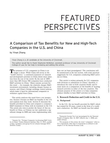 A Comparison of Tax Benefits for New and High-Tech Companies in ...