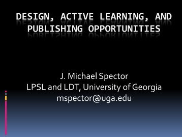 Spector, J. (2010) Design, Active Learning, and Publishing ...