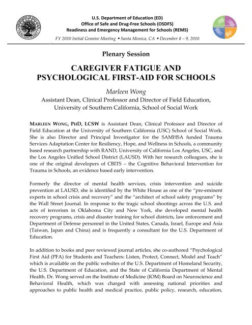 Caregiver Fatigue and Psychological First-Aid for Schools