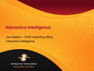 Interactive Intelligence - UCStrategies.com