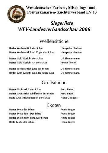 Siegerliste WFV-Landesverbandsschau 2006 - Westdeutscher ...