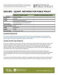 JSGS 803 – QUANT. METHODS FOR PUBLIC POLICY - Johnson ...