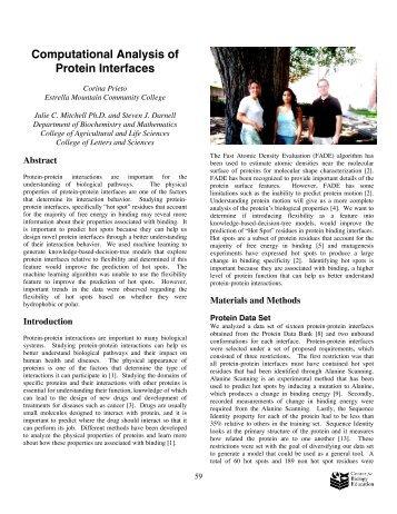Computational Analysis of Protein Interfaces - University of ...