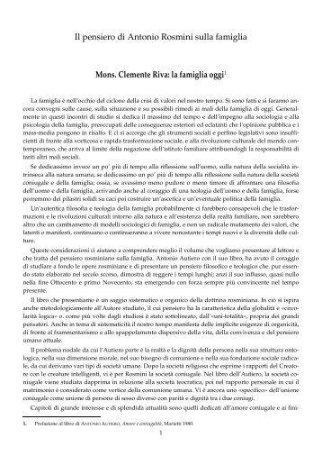 Raccolta di testi di Rosmini sulla famiglia - Centro Internazionale di ...