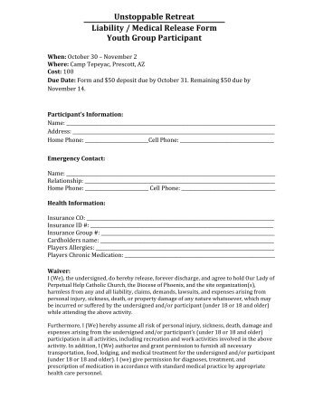 Liability Medical Release Form