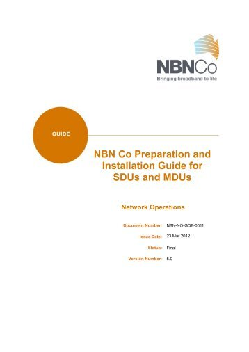 NBN Co Preparation and Installation Guide for SDUs and MDUs v5 ...