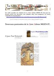 La Lettre C comme Carte Culture de la MGEN 87 n° 5 - mai 2013
