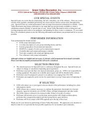 Special Event Performer Forms - Green Valley Recreation