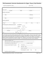 Risk Assessment Interview Questionnaire for Organ, Tissue, & Eye ...