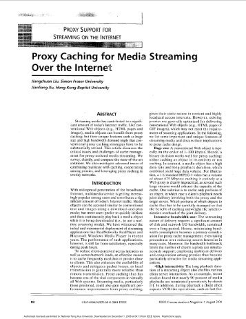 Proxy caching for media streaming over the internet ...