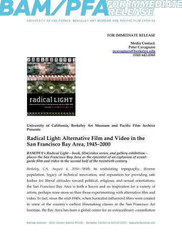 Radical Light - Berkeley Art Museum and Pacific Film Archive ...