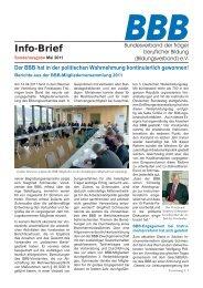 Sonderausgabe des BBB-Infos zur Mitgliederversammlung steht als ...