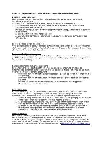 Annexe 1 : organisation de la cellule de coordination ... - Eduscol