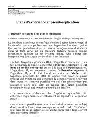 Plans d'expérience et pseudoréplication - Université de Montréal