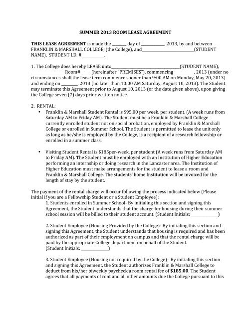 Summer 2013 Room Lease Agreement This Lease