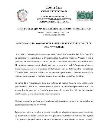I) Marco Jurídico del Sector Farmacéutico en México - Cámara de ...