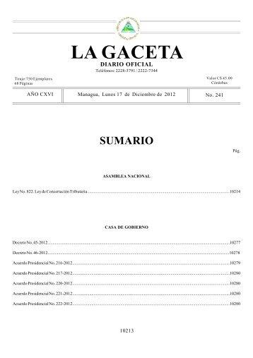 LA GACETA - Dirección General de Ingresos DGI
