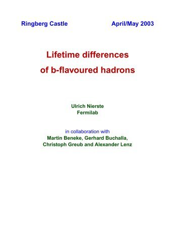 Lifetime differences of b-flavoured hadrons - MPP Theory Group