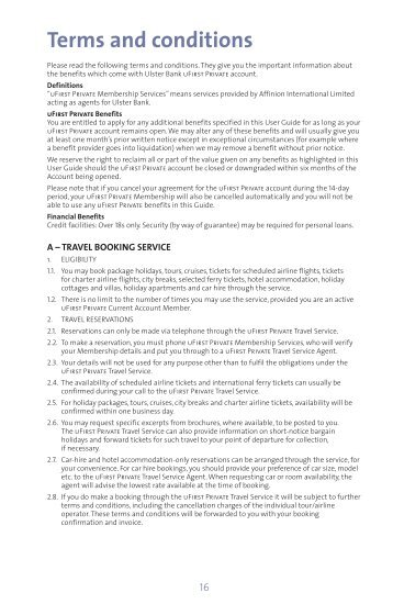 PRIVATE terms and conditions - Ulster Bank
