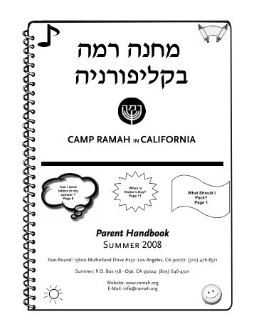 Camp Green Eyrie Overnight Camp Parent Booklet