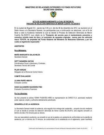 Acta por la cual se decide el proceso - Ministerio de Relaciones ...