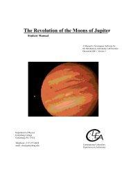 The Revolution of the Moons of Jupiter - University of Arizona