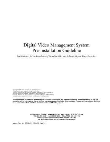 Digital Video Management System Pre-Installation Guideline - Vicon