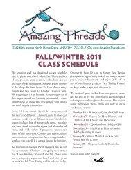 Fall/Winter 2011 ClaSS SCHeDUle - Amazing Threads.