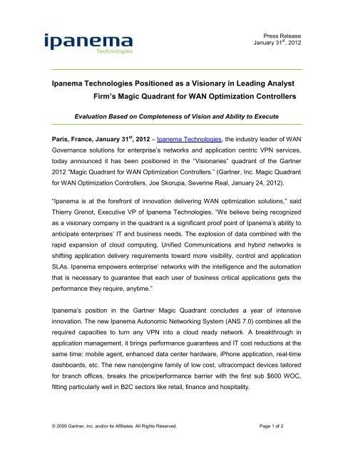 Magic Quadrant Template Ipanema Technologies