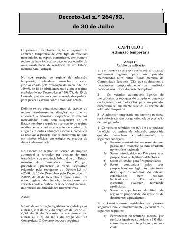 Decreto-Lei n.º 264/93, de 30 de Julho - Portal do Cidadão