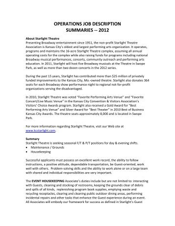 Operations Job Description Summaries    2012   Starlight Theatre Throughout Job Summaries