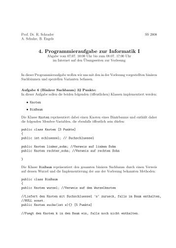 4. Programmieraufgabe zur Informatik I - ZAIK