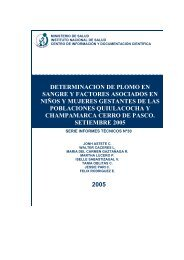 determinacion de plomo en sangre y factores asociados ... - BVS - INS