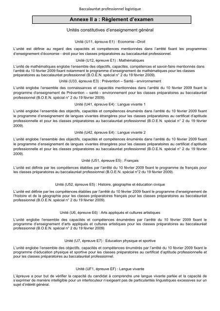 Annexe II a : Règlement d'examen - Académie de Nancy-Metz