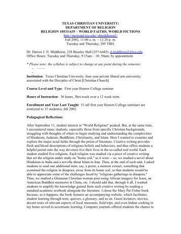 texas christian university: department of religion religion 10533