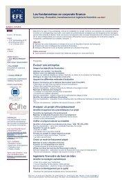 Les fondamentaux en corporate finance - EFE