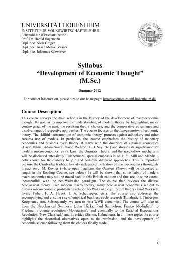 "Syllabus ""Development of Economic Thought"" (M.Sc.)"