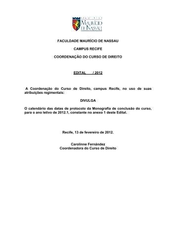 edital de monografia 2012 - Curso de Direito da Faculdade Maurício ...